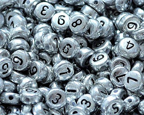 Lot de 100 perles rondes plates 7 x 4 mm Argent + Black No. Acrylique Multicolore 7 mm