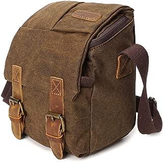 Well-Made Camera Bag Large-Capacity Canvas Bag Men's Messenger Bag Waterproof Travel Bag Youth Bag Outdoor Sports Retro Camera Bag Dynamic (Color : Brown)
