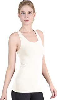 NIKIBIKI Women Seamless Plain Jersey Smooth Racerback Tank Top, Made in U.S.A, One Size