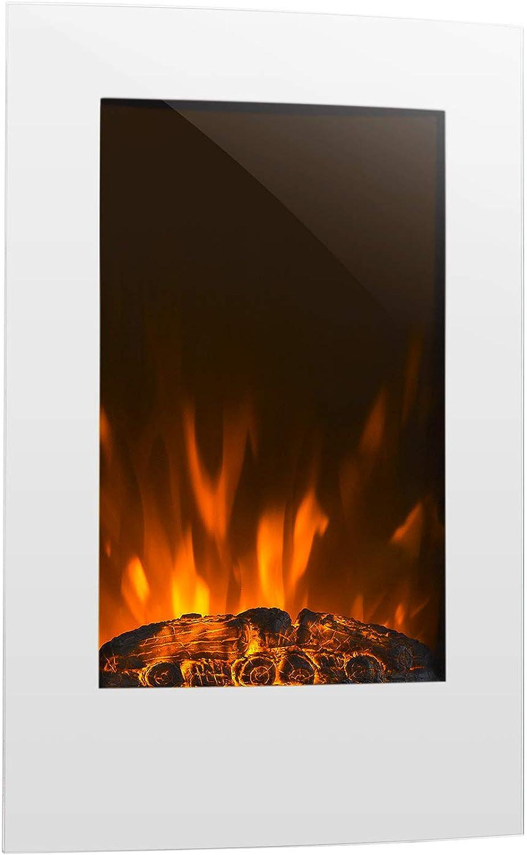 Klarstein Lausanne Grünical  Elektro-Kamin  elektrischer Kamin  E-Kamin  Heizfunktion  1000 oder 2000 Watt Heizleistung  Glas  Flammen-Effekt  WandinsGrößetion  inkl. Fernbedienung  wei