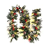 Warmiehomy Pre-Lit Christmas Garland 2.7M Fireplace Stair Decoration Illuminated Wreath with 50 LED Lights Decors for Xmas Festival Tree Display