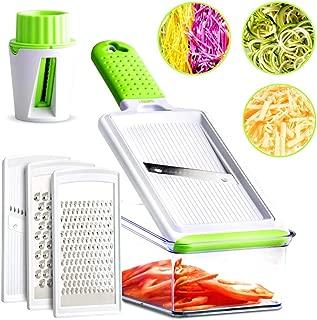 Mandoline Slicer - Vegetable Slicer - Cheese Grater Handheld - Fine & Coarse, Zester & Cheese Shredder, Julienne Slicer, Graters For Kitchen - 5 Interchangeable Blades