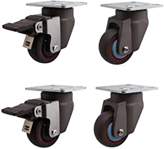 LYQQQQ 4 stks Meubelwielen 2 inch/50 mm massief rubberen wielen voor meubels universele schommelrem, 200 kg, stilte, voor ...