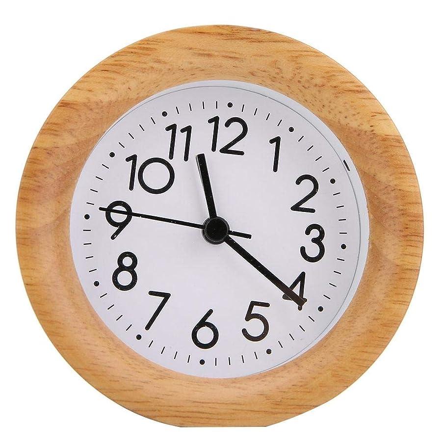 貼り直す謙虚な精度夜間照明付きデスク目覚まし時計(木の色)