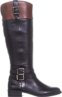 INC International Concepts Womens Frankii Riding Boots Black/Cognac 8 M US