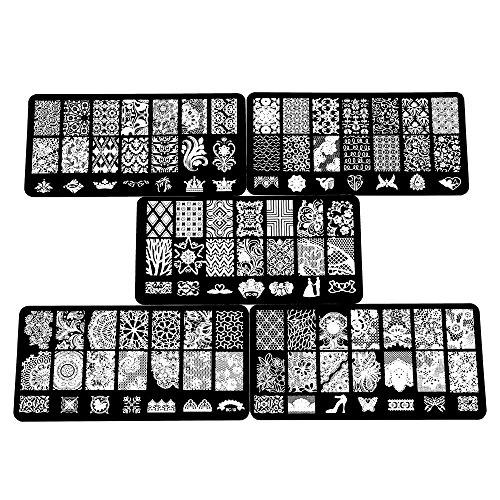 Beauty7 Nail Art Tampons Vernis Stamping 5 Plaque Timbre Pochoir en Metal Image 105 Designs Mixtes Impression Pour Ongle Manucure
