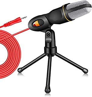 PC Microphone with Mic Stand,Professional 3.5mm Jack Recording Condenser Microphone for Video Recording Studio Streaming E...