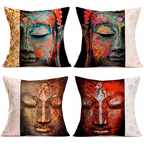 Easternproject Set of 4 Throw Pillow Covers Cotton Linen Bohemia Indian Style Buddha Portrait Pillow Cases Vintage Mandala Flower SakyamuniPattern 18x18 Inch Cushion Cover for Chair Couch