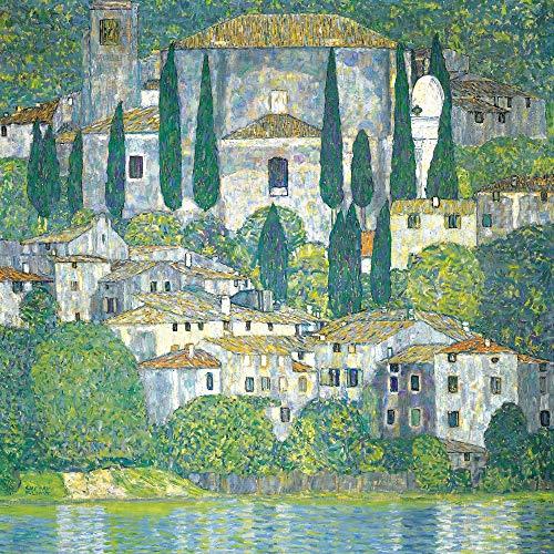 1art1 Gustav Klimt Poster Art Print - Church in Cassone at The Lake Garda, 1913 (39 x 39 inches)