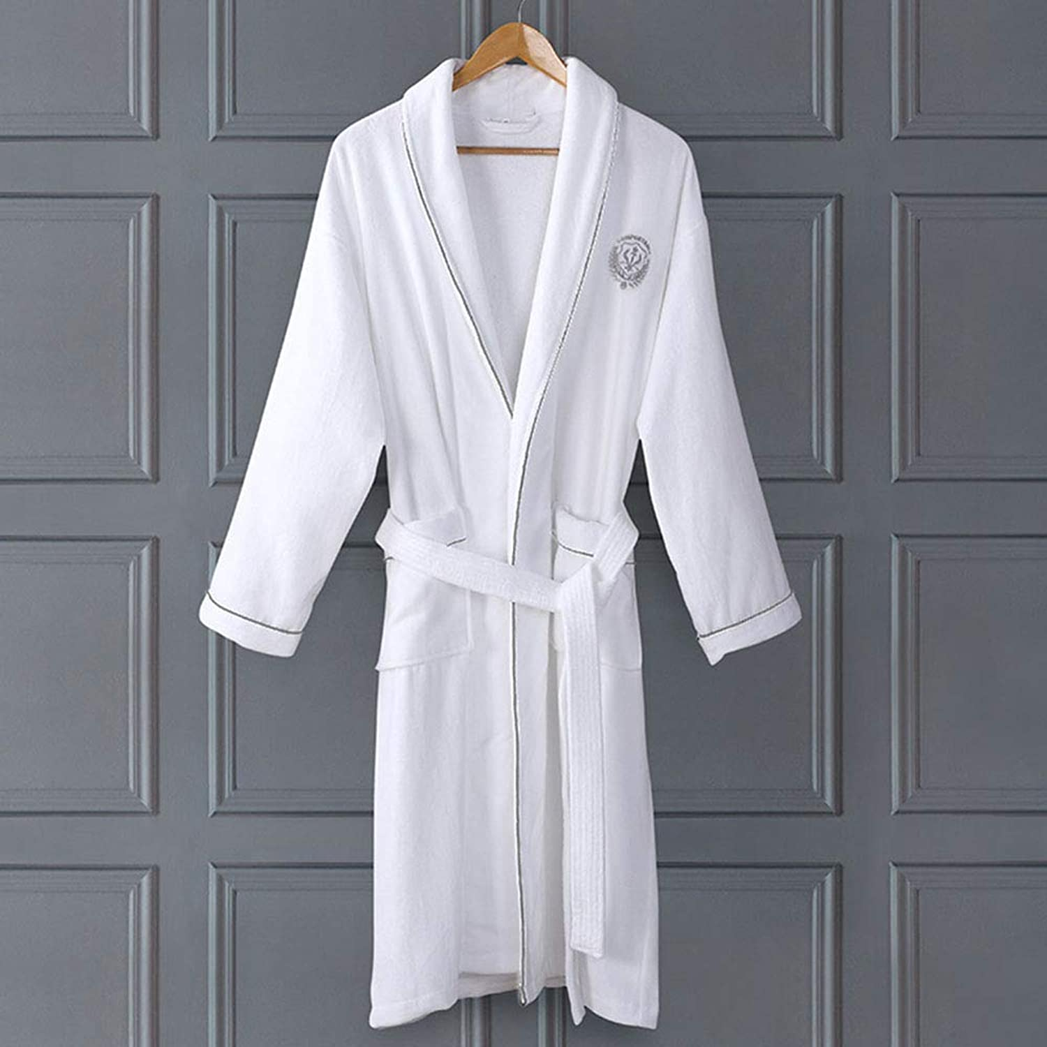 Bathrobe, Men's Women's Cotton Absorbent Towel Robes Couples Hotel Thickening Dressing Gown