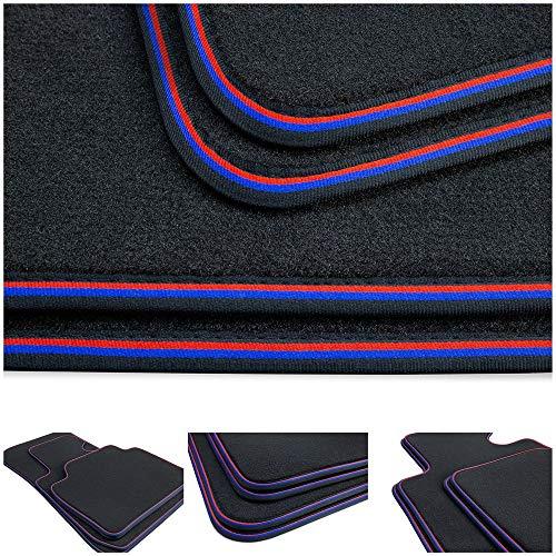 tuning-art BPL422 Professional Line Alfombrillas, Ribeteado, Bordes:Rojo/Azul