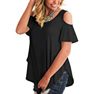 SLIMMING GRIL Women's Short Sleeve Cold Shoulder T Shirts Loose Casual Round Neck Tee Tops