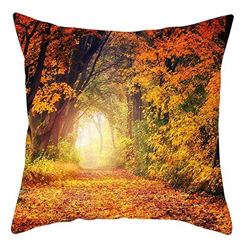 AtHomeShop 50 x 50 cm, fundas de cojín decorativas en poliéster con trampas de hojas otoñales, suaves, cómodas, cuadradas, para salón, sofá, decoración, color naranja y amarillo, estilo 10