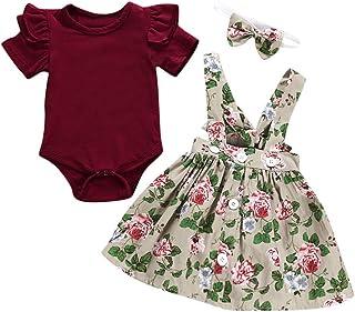 Sameno - 3 piezas de monos para bebé y niña + diadema + pelele de verano
