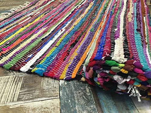 Second Nature Online Alfombra Jaskhar Alfombra de Tejido a Mano Suave y Trenzada Gruesa con Tela reciclada Multicolor 75 cm x 120 cm
