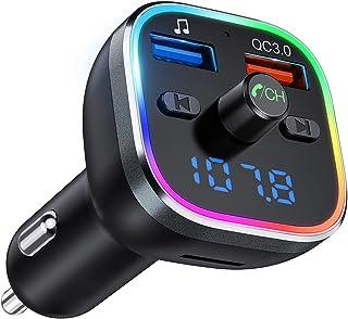 Vic Tech FL Transmisor FM Bluetooth 5.0, [RGB 7 Colores Luz de Anillo], Manos Libres para Coche QC3.0 Carga rápida, Reprod...