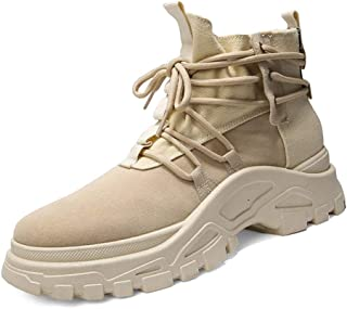 Xiang Ye Ankle Boots for Men Classic Work Boot Lace up Platform Suede&Canvas Patchwork Wear Resisting Round Toe (Fleece Inside Optional) (Color : Sand, Size : 8.5 UK)