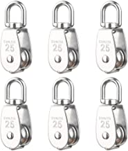 Rocaris 6 Pack M25 Lifting Single Pulley Roller Loading 330Ibs, 304 Stainless Steel Heavy Duty Single Wheel Swivel Lifting Rope Pulley Block