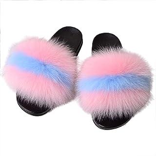 Zapatillas de Estar por Casa de Mujer Zapatillas de Felpa Mujer Punta Abierta Peludo Acogedor Pantuflas Interiores y Exter...