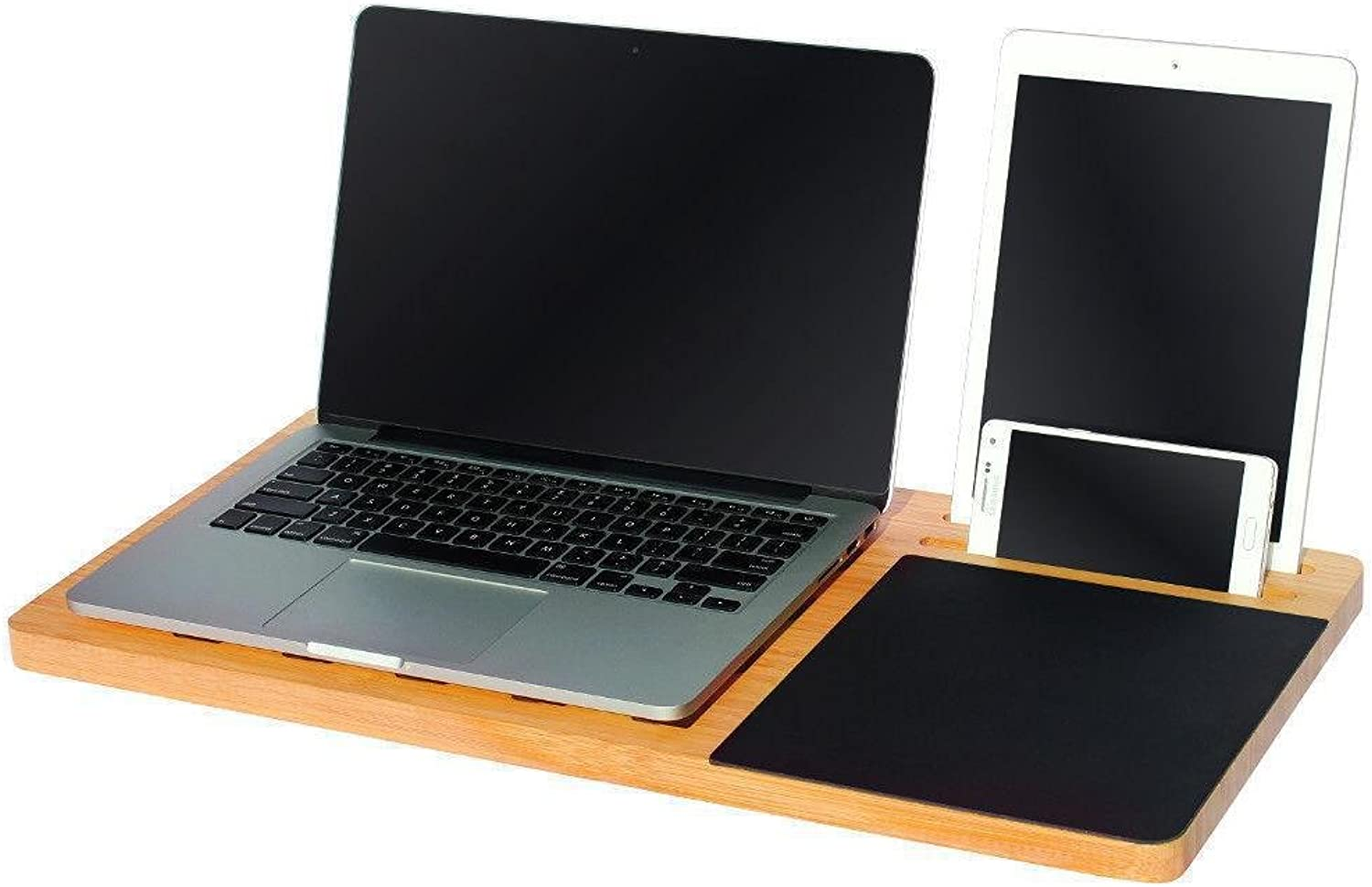 Bamboo Lap Desk - Fits 11 to 15  Laptop, Right Handed Mouse Pad, iPad iPhone Compatible, Ergonomic Sofa Bed Table, Portable, by Legion Woodcraft (Australian Seller)