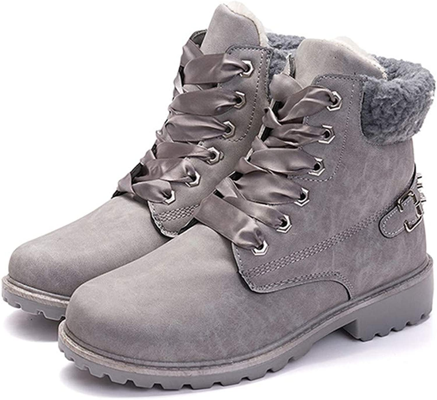 R-Anketsy Women Boots Lace Up Casual Ankle Boots Round Toe PU shoes Winter Warm Snow Boots