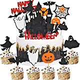 Halloween Topper Decorar - simyron 30Piezas Cupcake Adorno, Halloween Pasteles Suministros, Magdalena Topper para Fiestas Temáticas Halloween, DIY Pastel, Halloween de Aperitivos