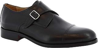 Leonardo Shoes Scarpe Uomo Fatte a Mano in Pelle Nera con Fibbia - Codice Modello: 08043 Nairobi Nero