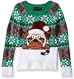 Blizzard Bay Girls Ugly Chrismas Sweater, Green/White/Pug Dog, 6X