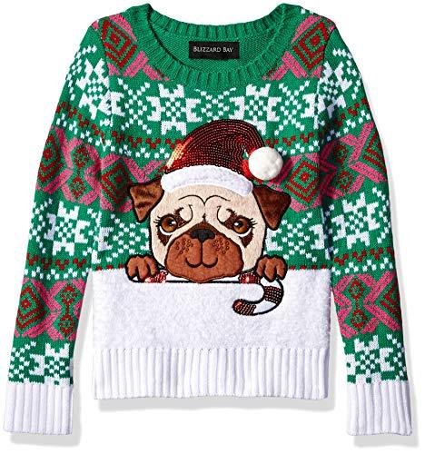 Blizzard Bay Girls Ugly Chrismas Sweater, Green/White/Pug Dog, 4