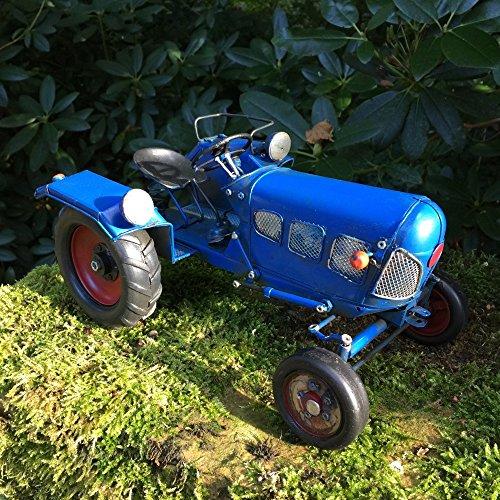 Antikas - Oldtimer Traktor - ländliche Dekoration Blechspielzeug Alter Trecker Blech, blau