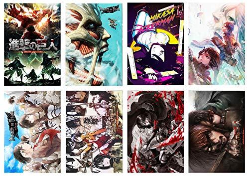Attack on Titan Poster Set di 8 Anime Wall Art per la decorazione della stanza, 41,9 x 29,2 cm, su carta goffrata