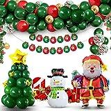 SevenQ Christmas Decorations Balloon Arch Garland Kit, 88 Pcs Xmas Party Supplies Balloon Ornaments Set, Including Merry Christmas Banner, Santa Claus, Snowman, Christmas Tree, Stars