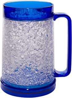 Liquid Logic Double Wall Gel Freezer Mug with Color Infused Handle, 16 oz, Blue