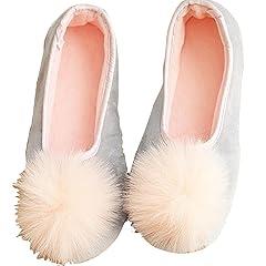 e4288240655 Amiley Women s Casual Cute Pom Pom Slip-on House Slippers Fla .