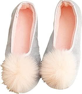 Amiley Women's Casual Cute Pom Pom Slip-on House Slippers Flats Anti-Slip Shoes