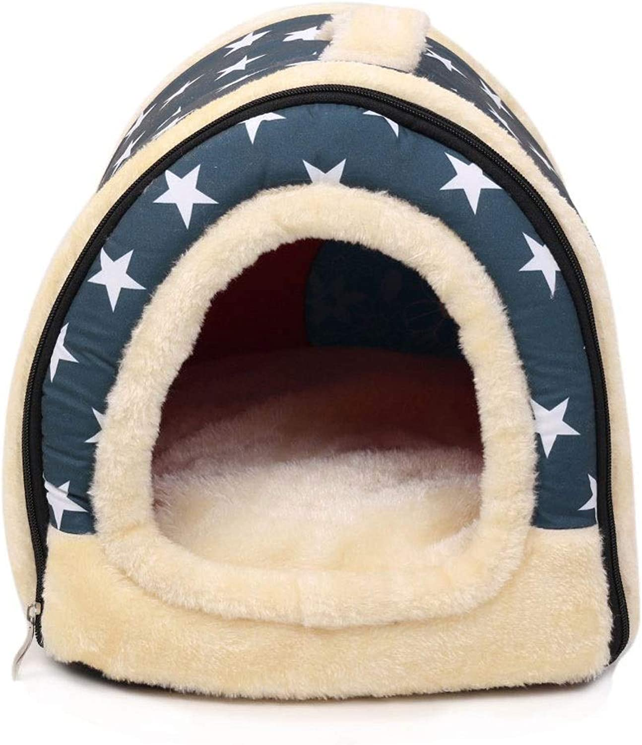 ZHIYINGTIANXIA Soft Warm Star Pattern Pet Nest Non-Slip Dog Cat Bed Foldable Winter Soft Cozy Sleeping Bag Mat Pad Cushions Breathable Cotton Blend Cover That is Removable-Small
