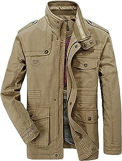 Realdo Men's Casual Jacket, Mens Autumn Winter Fashion Multi-Pocket Durable Long Sleeve Cargo Coat
