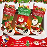 Christmas Stockings, Set of 3 Larger 18' Personalized Christmas Stockings Unique 3D Santa, Snowman & Reindeer Design Burlap Christmas Stockings for Christmas Decorations Holiday Party Decorations