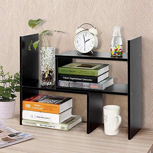 Cocoarm DIY Tisch Desktop Lagerregal Standregal Display Regal Organizer Tischorganizer Schreibtisch Tischregal Bücherregal Aufbewahrungsregal 3 Farbe Schwarze Walnuss