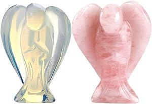 CrystalTears 2 Figuras de ángel de la Guarda de Cuarzo Rosa Natural/ópalo Reiki curación Estatua Fengshui de 3,81 cm