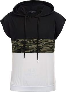 PaulJones T-Shirt da Uomo Crewneck Felpe con Cappuccio Camicia Casual a Maniche Corte con Cappuccio
