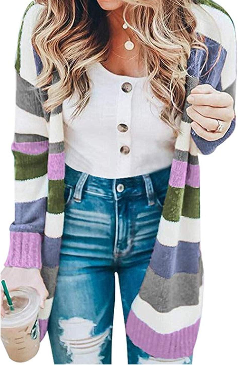 KIRUNDO Women's Open Front Long Cardigan Stripe Color Block Long Sleeves Lightweight Knit Fall Outwear Sweater Coats