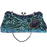 Awise Bolso de mano para mujer, estilo vintage, diseño de pavo real, color azul marino, turquesa, Azul3 (Azul) - unknown