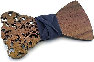 Gigetto Papillon in legno fatto a mano con nodo in tessuto blu. Farfallino accessori moda matrimonio cerimonia. Cinturino ...