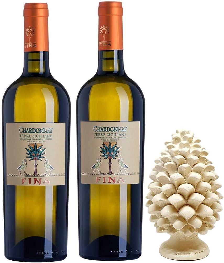 Sicilia bedda - cantine fina - 2 bottiglie di vino bianco chardonnay, piu` pigna siciliana in ceramica
