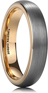 NaNa Chic Jewelry 18K Gold Plated 4mm Tungsten Carbide Ring Wedding Engagement Band Brushed Domed for Women Comfort Fit
