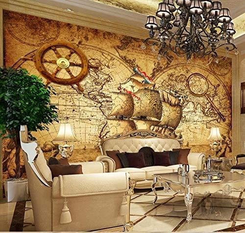 HDOUBR Beibehang Personalizado Grandes murales decoración de Moda Retro náutico mapamundi Tema murales Papel Tapiz de Pared Papel de Parede, 430x300 cm (169.3 by 118.1 in)