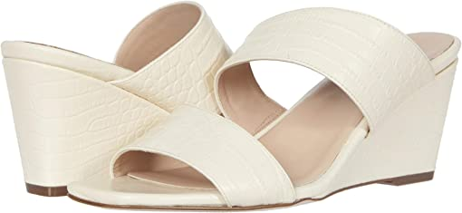 Pale Ivory Croco Print Leather
