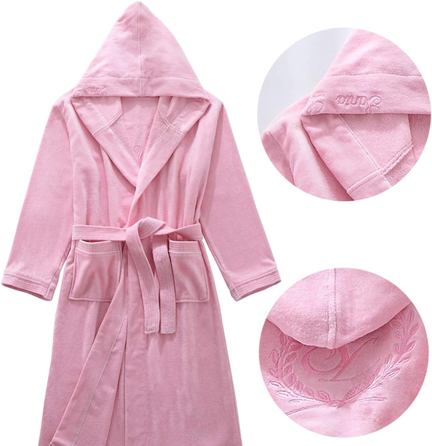 Bathrobes, Men and Women Winter Robe Cotton Toweling Bathrobe, Hotel Solid color Hooded Dressing Gown