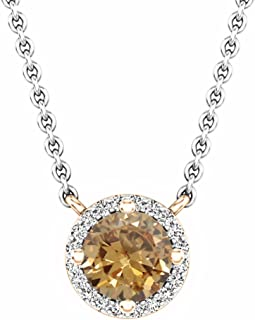 14K Round 6 MM Gemstone & Diamond Ladies Halo Pendant (Silver Chain Included), Rose Gold